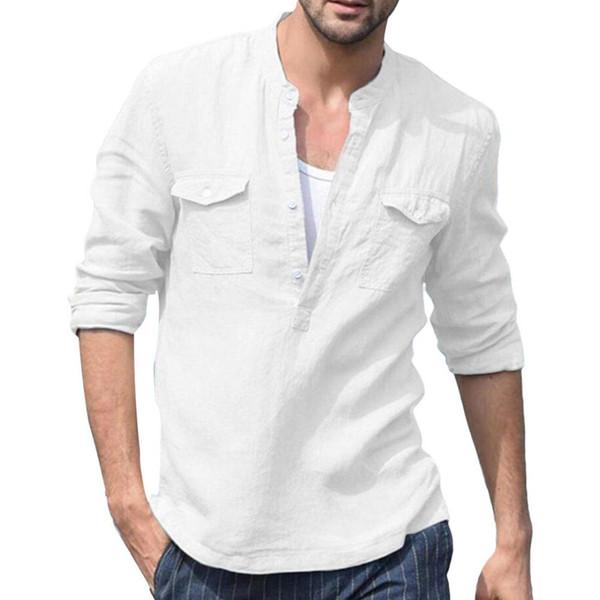 Hombres Botones de bolsillo de color liso Botones Camisa de manga larga con cuello en v Top de lino de algodón