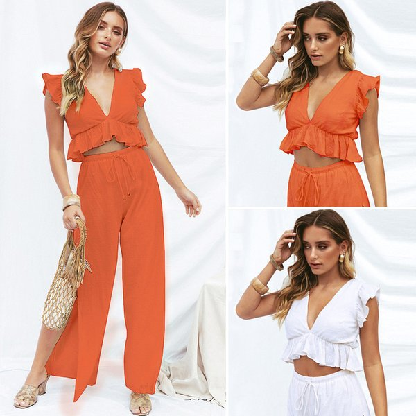 2019 summer new style women summer clothes leisure vacation split wide leg solid color sexy suit women clothes two piece sets clothing