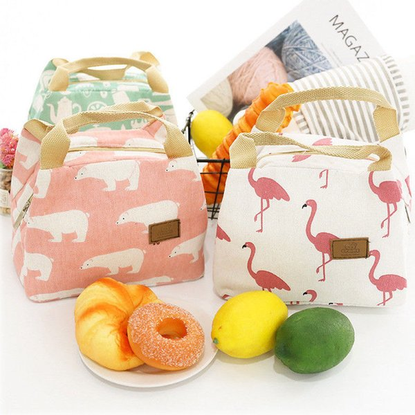 Animal Flamingo Bear Lunch Bags Women Portable Functional Canvas Insulated Thermal Picnic Kids Cooler Lunch Box Bag Tote