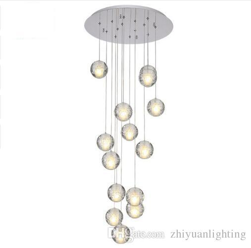 Contemporary LED Crystal Chandelier Large Bubble Crystal Lamps 14 Lights Hang Lustres De Cristal Stair Pendant Lighting Fixture