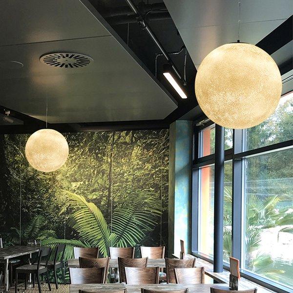 Post moderne lune ronde led pendentif lumière nordique acrylique barre pendentif éclairage pour la chambre luminaires suspendus lustre Lamparas