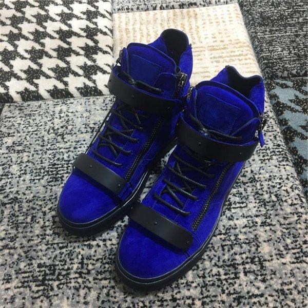 Pop Avrupa Amerikan Erkekler Çift Zippe dack mavi renk süet Deri ayakkabı siyah lace up yüksek en stil flats casual Ayakkabı