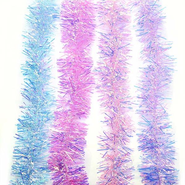 2M 3 / 5cm de ancho cinta de guirnaldas de oropel de navidad de colores para la decoración del árbol de navidad guirnalda de recorte de ratán de navidad decoración del hogar