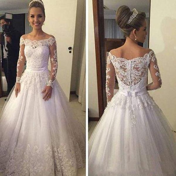 2019 Una linea vestiti da sposa Appliqued merletto fuori dalla spalla maniche lunghe telaio dell'arco pulsanti Indietro Abiti da sposa Top Quality