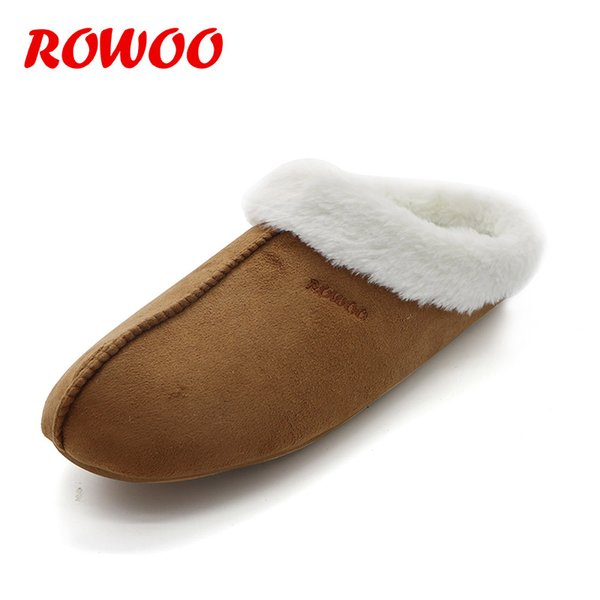 Nuevos hombres de invierno Zapatillas de piel sintética Cálido Felpa Diapositivas masculinas EVA Interior Diapositivas planas Inicio Flip Zapatos de invierno para hombres Zapatillas calientes