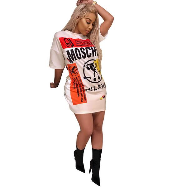 Женщины Scrawl Dress Лето с коротким рукавом Футболка с длинным рукавом Свободные платья One Piece Romper 2019 Негабаритная юбка Noval Party Club Street Cloth Ткань A52207