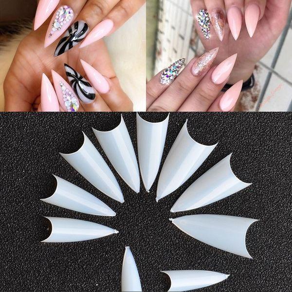500Pcs/Bag Stiletto Nail Tips Sharp Nail Art False Tip White/Clear/Natural French Acrylic UV Gel Nails For Decoration NT031