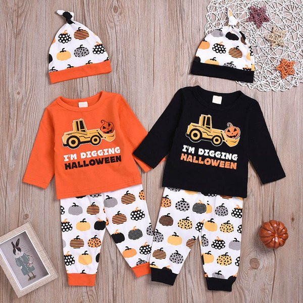 Vestiti per bambini Neonati Neonati Ragazzi Manica lunga Halloween Top Cartoon Stampa Top + Pant + Hat 3PCS Outfit Vetement Enfant Fille