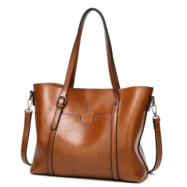 Luxury Lady Oil Wax Leather Handbag Shoulder Bag Messenger Large Tote Bag Women