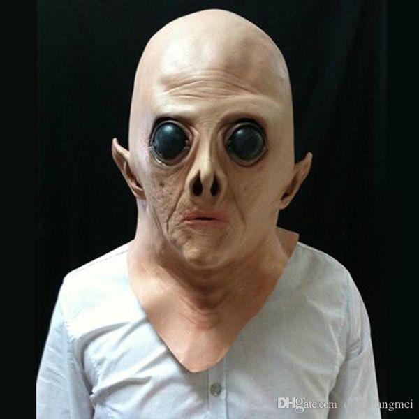full face mask Big Eye Realistic UFO Alien Head Mask Latex Creepy Costume Party Cosplay masks H60