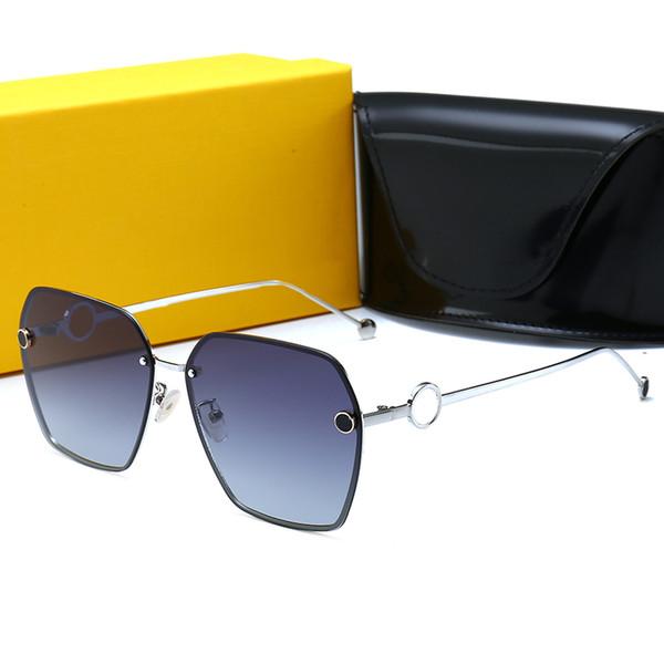 FENDI 0114 Yüksek Kalite Yeni Sıcak satış Unisex 3576 Polarize Güneş Gözlüğü Erkekler Perçinler Metal Tasarım Ayna Güneş Kadınlar Gözlük Kutusu Ile UV400