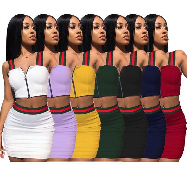 Brand Striped Two Piece Dress Women Outfits Zipper Sleeveless Vest Short Crop Top Mini Skirt Set Purple Blue Green Yellow White Black Red