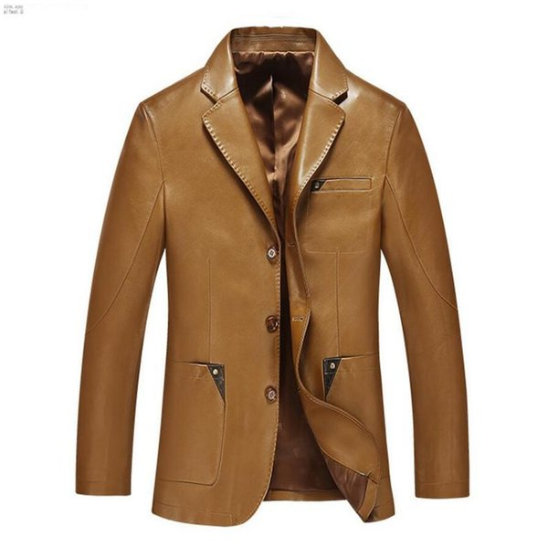 Men leather suit spring and autumn blazer male sheepskin suit tops genuine split leather slim jacket black brown coat