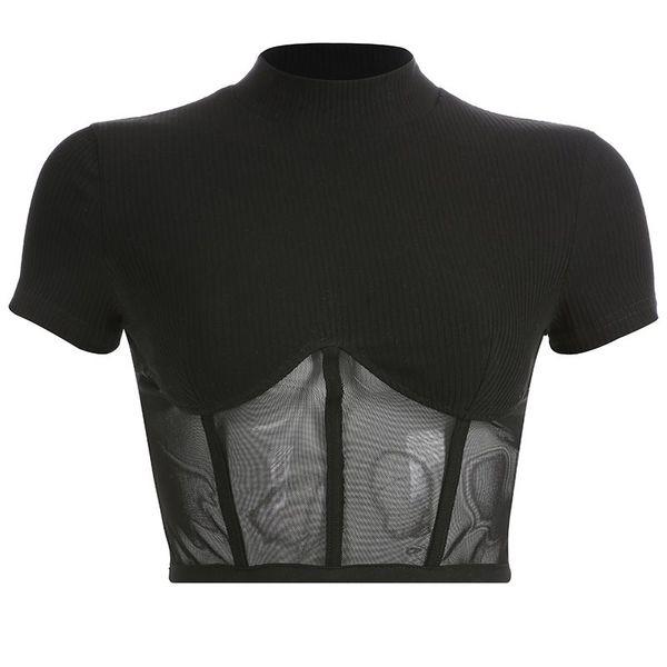 Femmes T-shirts Casual Sexy Élégant Gothique Noir Mince Col Montant Maille Solide Rue Haute OL Dames Mode Féminine Goth Tops