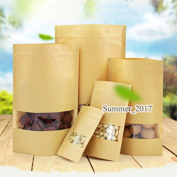 Food Moisture-proof Bags Kraft Paper with Aluminum Foil Lining Stand UP Pouch Ziplock Packaging Bag for Snack Candy Cookie Baking