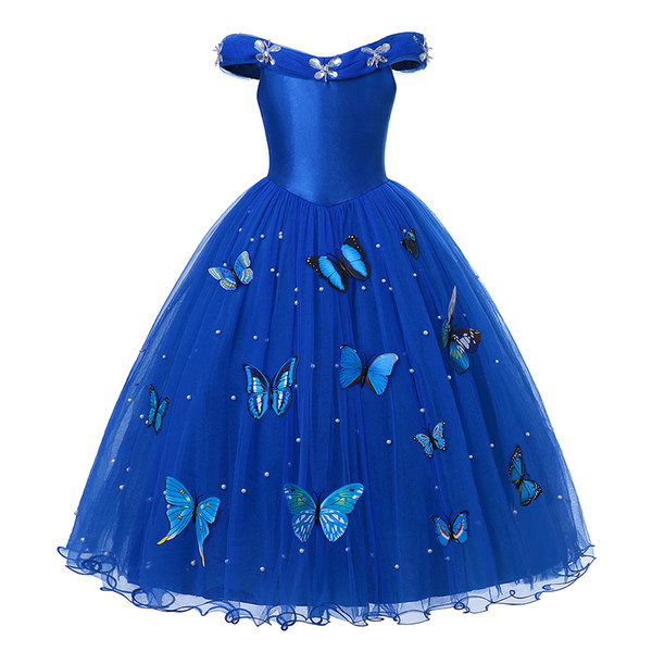 top popular Princess Cinderella Dress up Clothes Girl Off Shoulder Pageant Ball Gown Kids Deluxe Fluffy Bead Halloween Party CostumeAA19906 2020