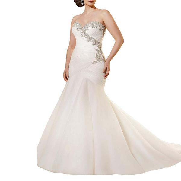 Crystal Beaded wedding dress Embroidery and Soft Net Pleat Plus Size Mermaid Wedding Dress vestido de noiva White bride dress Free shipping