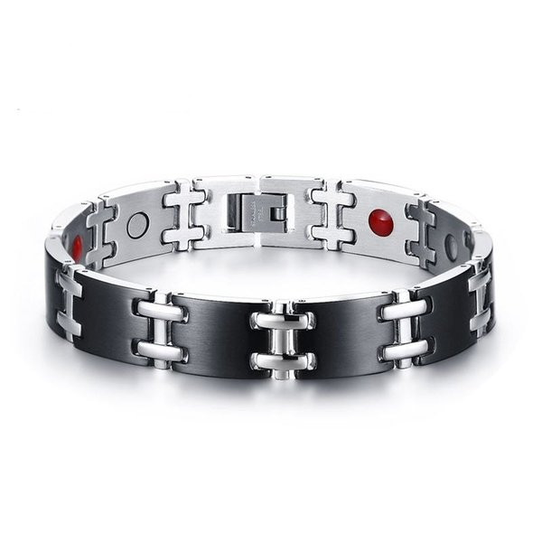 12MM Black Gold Color Fashion Simple Men's Germanium Magnets Bangle Stainless Steel Bracelet Watchband Jewelry Gift for Men Boys J108