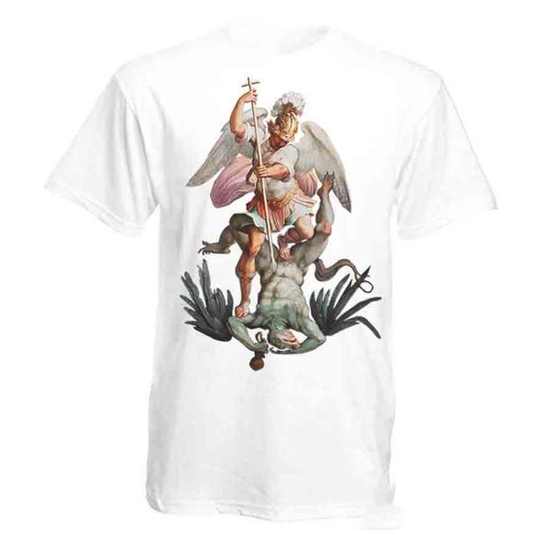 San Miguel Arcángel destruye la camiseta blanca cristiana católica del diablo I Tees Camiseta de camiseta de camiseta de hip hop personalizada