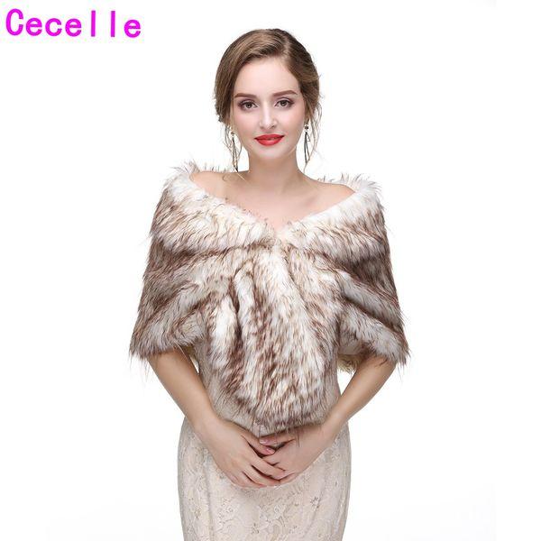 High Quality Brown Bride's Winter Faux Fur Bridal Wraps 2019 New Bridesmaid Faux Fur Capes For Wedding Party Women Warm Party Fur Cape