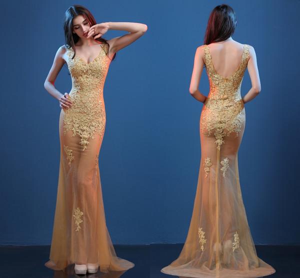 Sexy Gold Evening Dresses Perspective Models Slim Fish Tail Dresses Nightclub Sexy Deep V-Neck Tattoo Prom Long Dresses