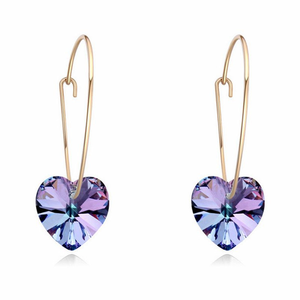 New fashion Crystal Heart Pendant Earrings Embellished With Crystals From Swarovski Bridal Earrings for Women Gift