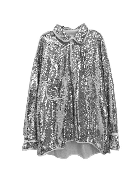 sequin bling bling glitter long sleeve shine silver jackets party club bar DJ street high way show costumes