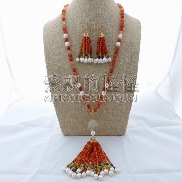 Damen 26 '' Orange Onyx weiße Perlenkette Ohrringe Sets