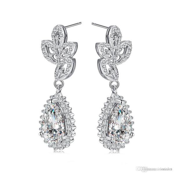 10pcs/lot Zircons Elegent Evening Dinner Part Wedding Jewelry Long CZ Crystal Big Drop Dangle Earrings For Brides