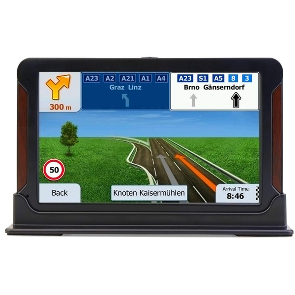7-inch high-brightness touchscreen+Real Voice GPS Navigation System,built-in 8BG No need to insert a card, pre-installed maps for free