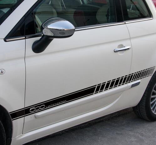 2pcs Car Styling Accessories Door Side Graphic Decal Skirt Sill Stripes Stickers for Fiat 500 Limited Eidtion