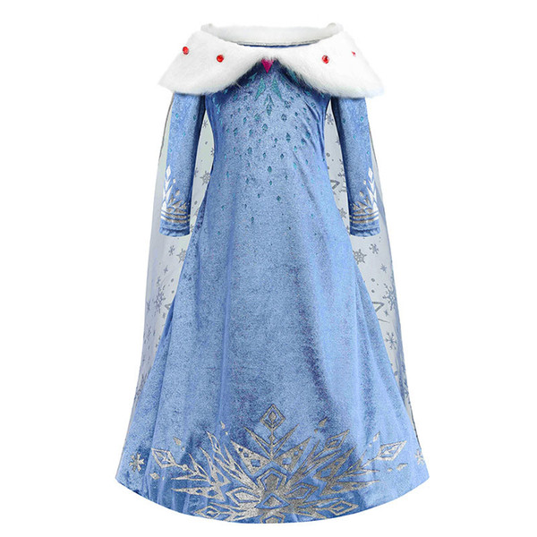 best selling Girls Cosplay Dresses Queen Snowflake Cloak Dress Up Stage Performance Kids Clothes Snow Christmas Party Show Dress 3-10T 07