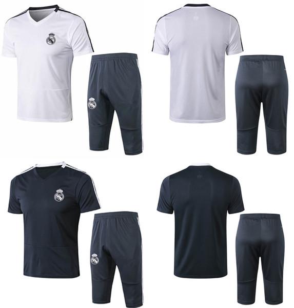 Real Madrid Fußball-Trainingsanzug 18 19 Kurzarm-Fußballtraining-Sets Herren-Sporttrikots 3/4 Hosen für Erwachsene Thai-Fußball-Sets für Erwachsene