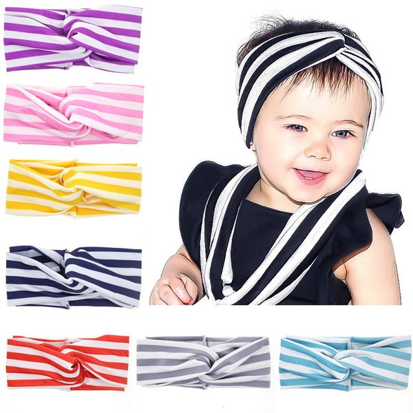 24 Pcs Stripe Print Overlapping Design Elastic Hair Bands Headbands Toddler Kids Headwear Hair Accessories Beautiful HuiLin DWH82