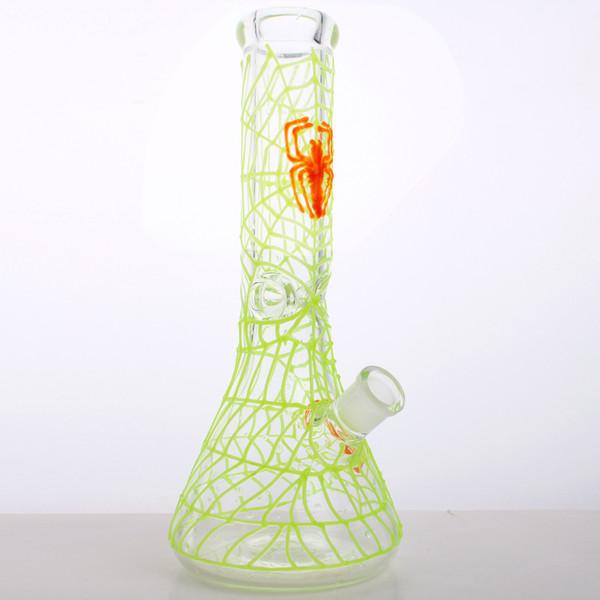 2018 Hot Desigan Hot Sellin glow in dark spider tubo di vetro acqua 12 pollice 7 MM Spessore Maniglia di Vetro Beaker Bongs oil rig