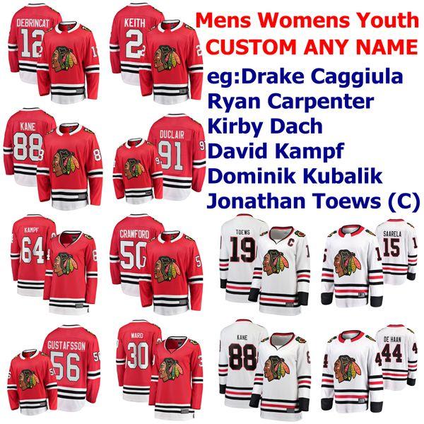Chicago Blackhawks Hockey Maillots Femmes Enfants Dominik Kubalik Jersey Kirby Dach Drake Caggiula Ryan Carpenter David Kampf personnalisé Cousu