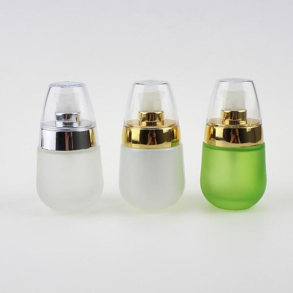 Роскошная стеклянная бутылка лосьон насос, 30ml пустой стакан цветной матовую бутылку зеленого или белого цвета, 1oz сыворотка бутылка с золотым лосьона насосом и ясно