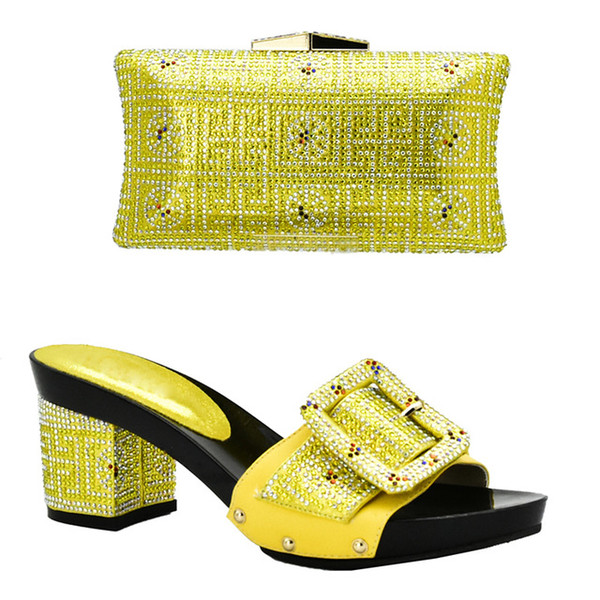 African Shoes and Bag Set for Women Heeled Sandals Party Wedding Office & Career Dress Matching and clutches bag with size 38-43 fashion af