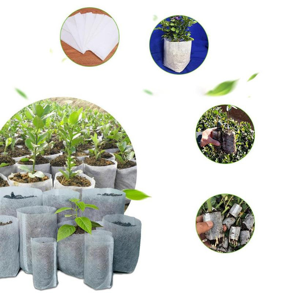 100 pz Vasi per nidi non tessuti Piantina-Sollevamento Biodegradabile Sacchetti di crescita tessuti Giardino Asilo nido Aerazione Borse per piantare