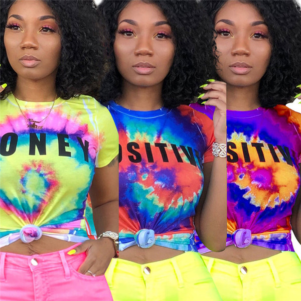 S-3XL Женская футболка Rainbow Tie-dye Цвет Буквы С Коротким Рукавом Crop Top Дизайнерские футболки Топы Camisetas Mujer Хип Поп Уличная Одежда Новый A42507