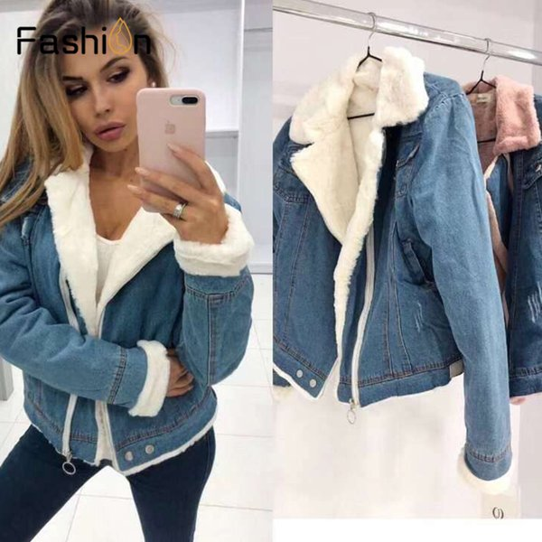2019 Women Velvet Thick Denim Jacket Female Autumn Winter Fleece Coat Korean Locomotive Coats Student Short Coat Jeans Jacket SH190925