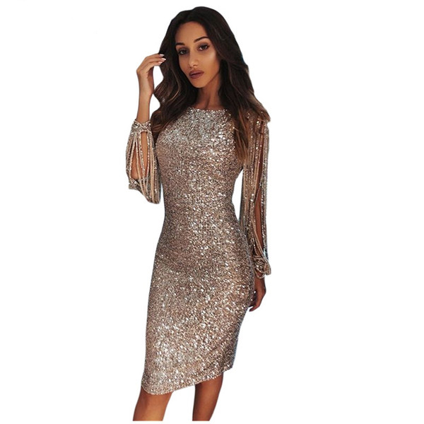 3f8e475acb Women S Clothing Bodycon Dresses 2019 Designer Sexy Sequin Long Sleeve  Party Silver Hollow Out Midi