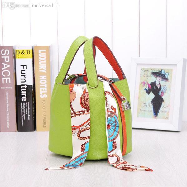 Atacado-2016 novas bolsas das mulheres de alta qualidade sacos de couro Genuíno marca designer de bloqueio picotin saco de compras das senhoras
