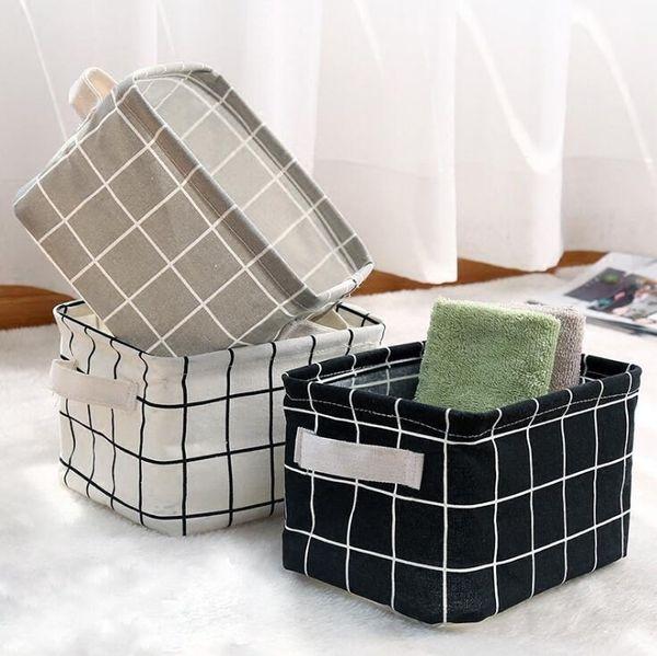 Panier de rangement pliable multicolore Sac de rangement en lin imperméable en coton Sac de rangement pour bureau portable