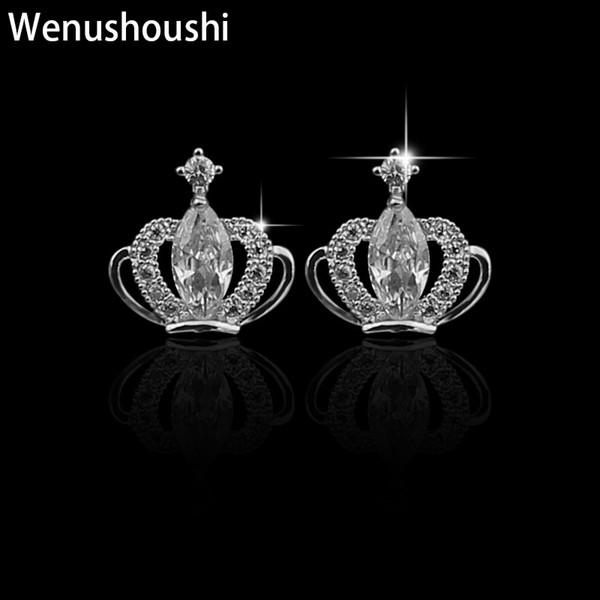 WENUSHOUSHI S925 silver needle trendy Korean earrings copper zircon crown stud earrings girls cute gifts jewelry 2019 fashion