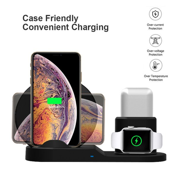 3in1 Fast Wireless Charger for iPhone X XS Max 10W Charging for Apple Watch Airpods Qi Charger Pad for Samsung S9 S8 Wireless Charger Stand