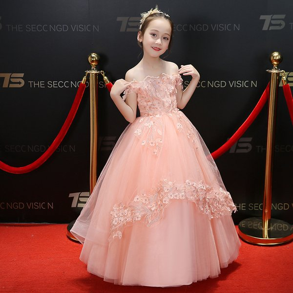 2019 Flower Girls Dresses for Weddings Scoop Ruffles Lace Pageant Tulle Pearls Backless Princess Children Wedding Birthday Party Gowns