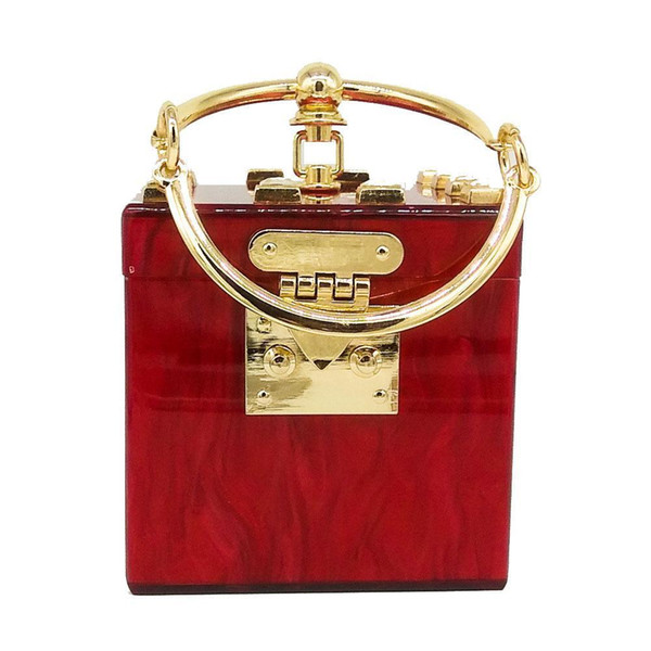 P Nice Square Acrylic Clutch Evening Bag Luxury Wommen Crossbody Bags Metal Party Bag Lady Handbag Diamond Purse