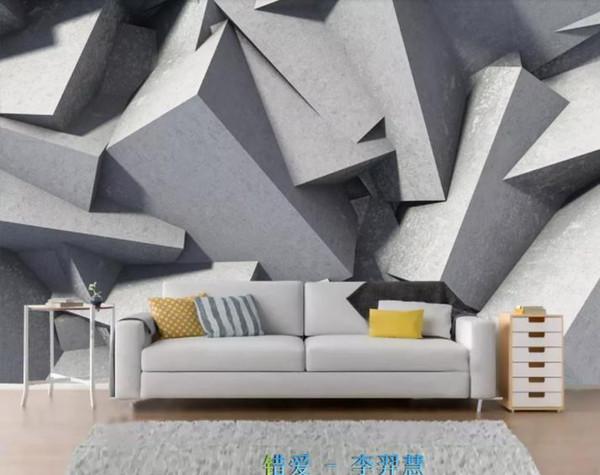 Großhandel Benutzerdefinierte Abstrakte Geometrie Tapete 3D Stereoskopische  Kunst Wandbild Wohnzimmer Schlafzimmer Hintergrund Wand Grau Von Yeyueman,  ...