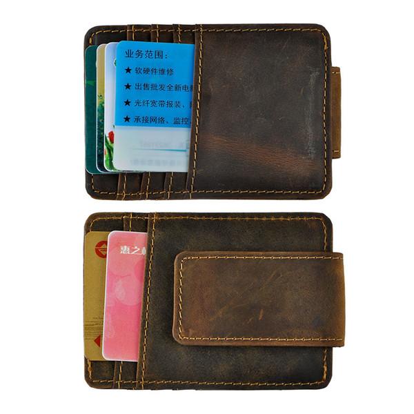 Money clip magnet men wallet crazy hor e leather ale vintage de ign by dhl, Red;black